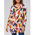 Colorful Pattern Ribbed Drop Shoulder Pullover Sweater - WHITE
