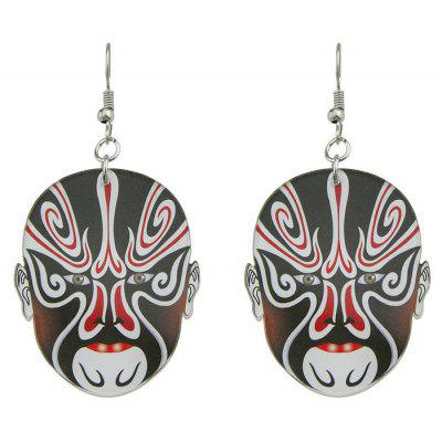Oval Chinese Peking Opera Mask Earrings