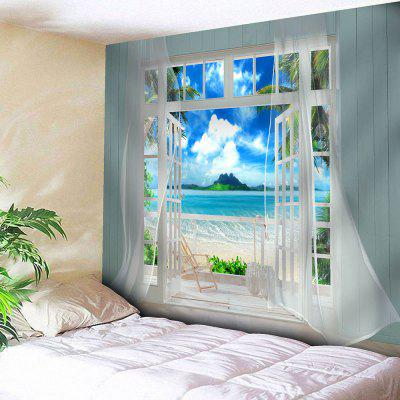 3D Faux Window Seascape Printed Wall Hanging Tapestry