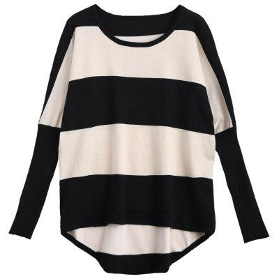 Contrasting Stripes Batwing Sweater