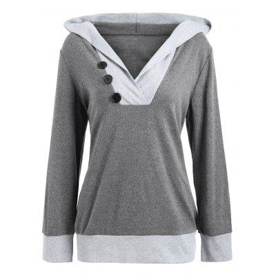 Buy DEEP GRAY L Color Block Button Embellished Hoodie for $25.78 in GearBest store