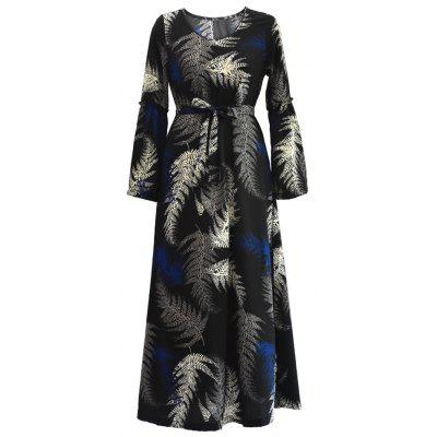 Tropical Print Belted Long Sleeve Maxi Dre