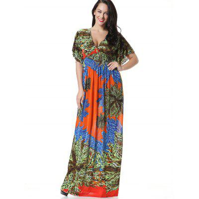 Buy GREEN L Floral Surplice Smocked Panel Maxi Dress for $26.64 in GearBest store