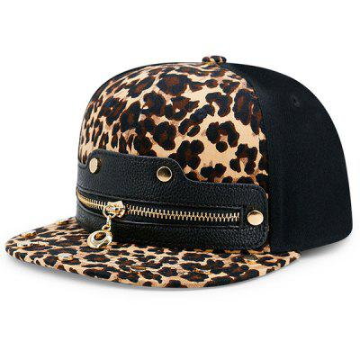 Leopard Zipper Faux Leather Spliced Baseball Hat