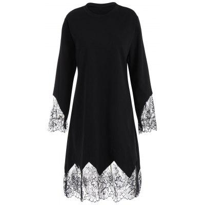 Plus Size Eyelash Lace Trim Dress with Sleeves