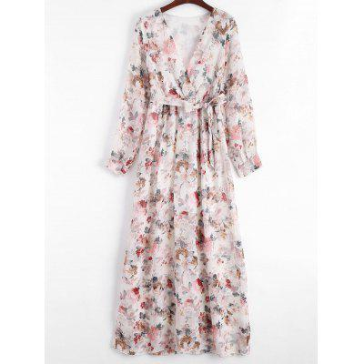 Floral Print Plunging Neck Belted Dress
