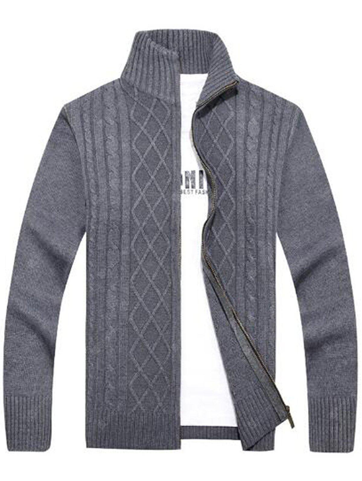 Cable Knit Zipper Sweater Cardigan