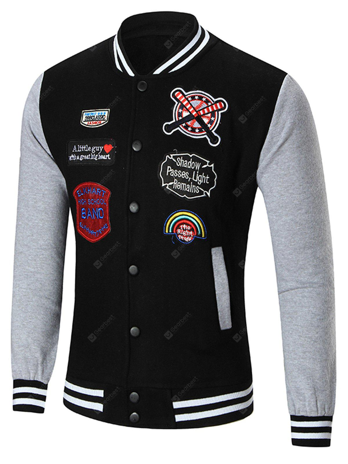 Stand Collar Patched Baseball Jacket