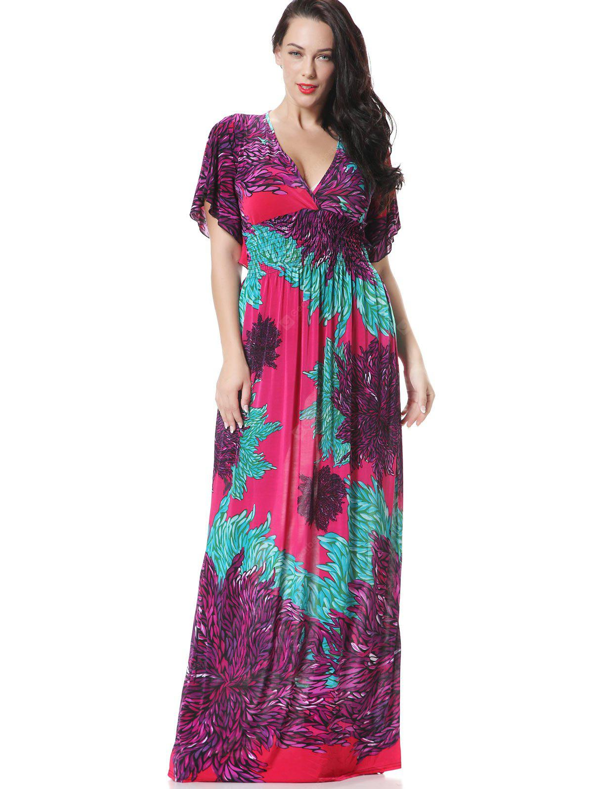 PURPLE XL Floral Surplice Smocked Panel Maxi Dress