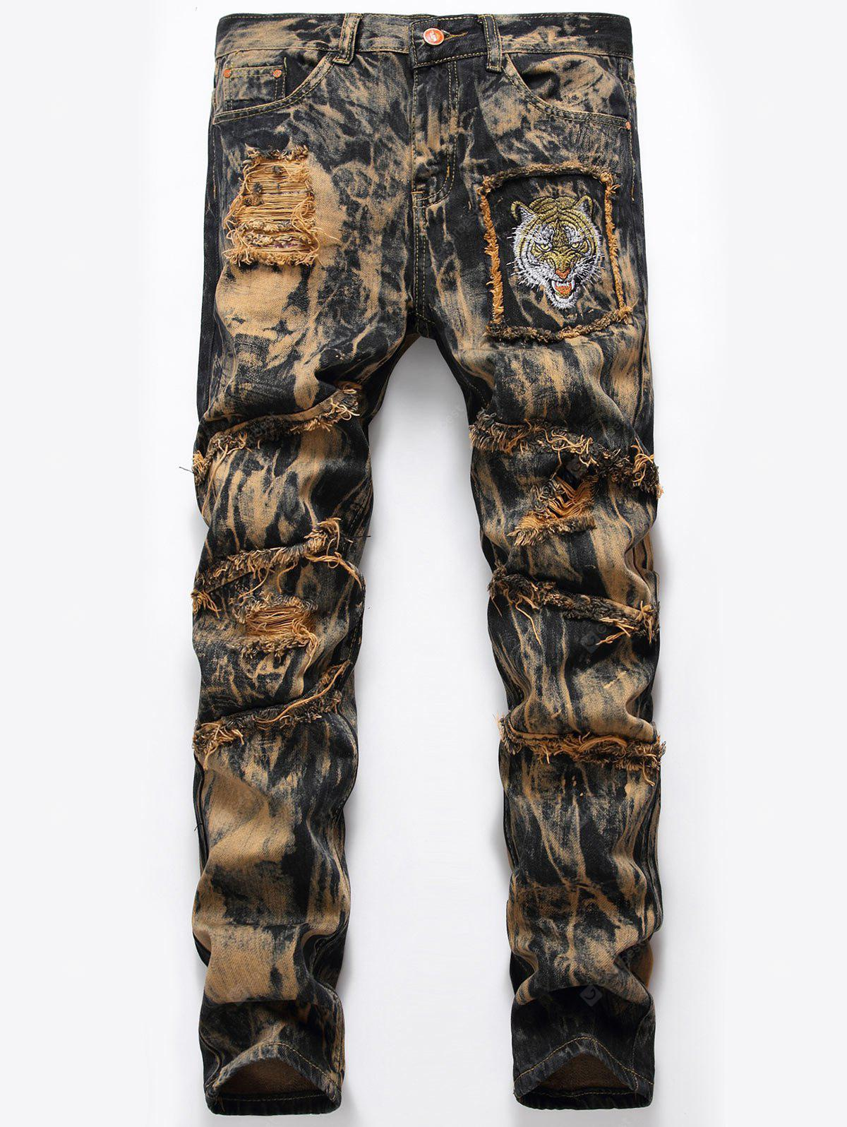 Tie Dye Tiger Embroidery Distressed Jeans