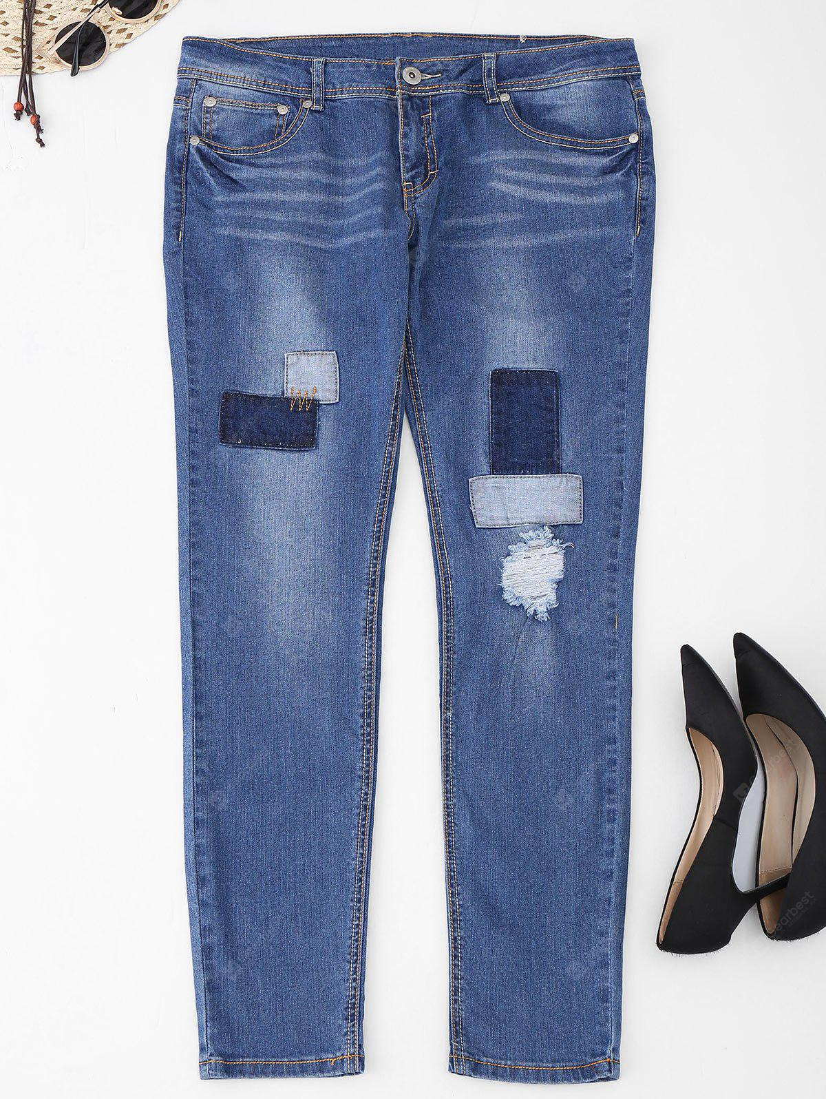Plus Size Frayed Patch Jeans