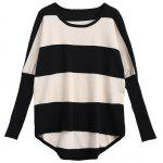 Contrasting Stripes Batwing Sweater - STRIPE