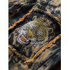 Tie Dye Tiger Embroidery Distressed Jeans - EARTHY