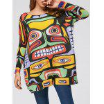Cartoon Pattern Drop Shoulder Pullover Sweater - YELLOW