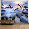 Crane Stone Printed Wall Hanging Tapestry - COLORFUL