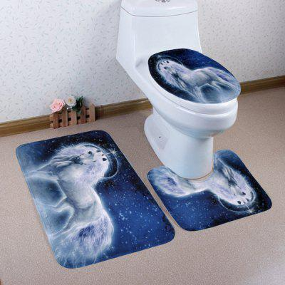 Buy BLUE Fairytale Unicorn Coral Velvet 3PCS Bathroom Mats Set for $17.85 in GearBest store