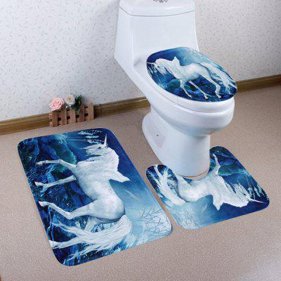 Buy BLUE 3 Pieces Dreamworld Unicorn Toilet Mats Set for $17.85 in GearBest store
