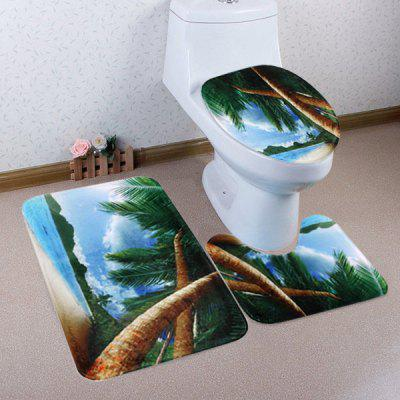 Buy COLORMIX Beach Palm Trees Pattern 3 Pcs Toilet Mat Bath Mat for $17.85 in GearBest store