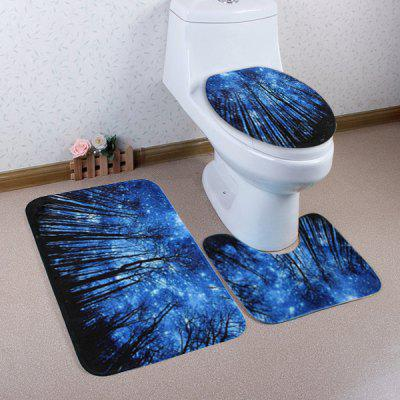 Buy BLUE Forest Galaxy Pattern 3 Pcs Toilet Mat Bath Mat for $17.85 in GearBest store