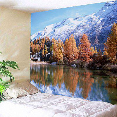 Buy ACU CAMOUFLAGE Snow Mountains Trees Lake Waterproof Wall Tapestry for $12.27 in GearBest store
