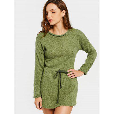 Belted Long Sleeve Sweater Mini Dress