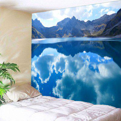 Buy GREEN Clouds Mountains Lake Waterproof Wall Hanging Tapestry for $12.27 in GearBest store