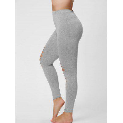 Buy GRAY 2XL Plus Size Ripped Fitted Leggings for $16.11 in GearBest store