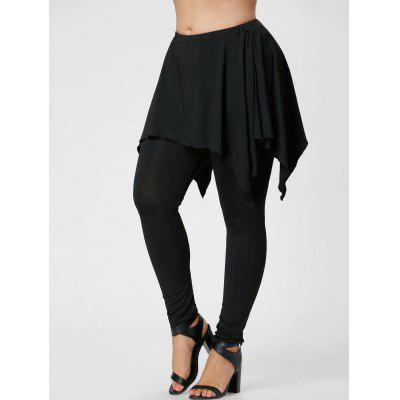 Buy BLACK 3XL Plus Size Handerchief Skirted Pants for $18.60 in GearBest store