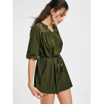 Lace Panel Notched Belted Mini DressWomens Dresses<br>Lace Panel Notched Belted Mini Dress<br><br>Dresses Length: Mini<br>Embellishment: Lace<br>Material: Polyester<br>Neckline: Notched<br>Occasion: Causal, Going Out<br>Package Contents: 1 x Dress  1 x Belt<br>Pattern Type: Patchwork<br>Season: Summer<br>Silhouette: Straight<br>Sleeve Length: Half Sleeves<br>Style: Casual<br>Weight: 0.3350kg<br>With Belt: Yes