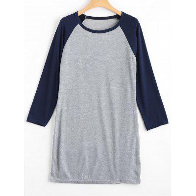 Buy PURPLISH BLUE XL Raglan Sleeve Knitted Ribbed Dress for $20.60 in GearBest store