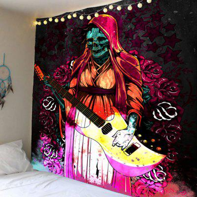 Halloween Playing Guitar Skull Flowers Wall Art Tapestry