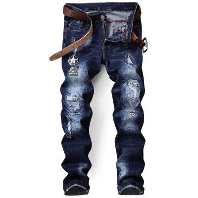 Zip Fly Printed Jeans afflitti