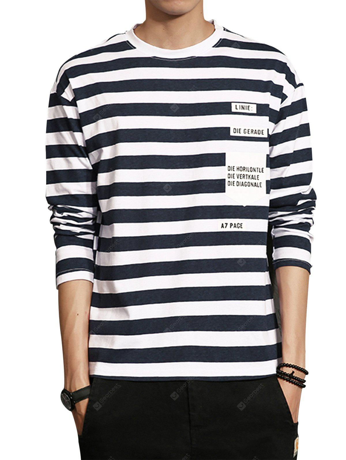 T-shirt a righe stampate con stampa a collo Crew Neck