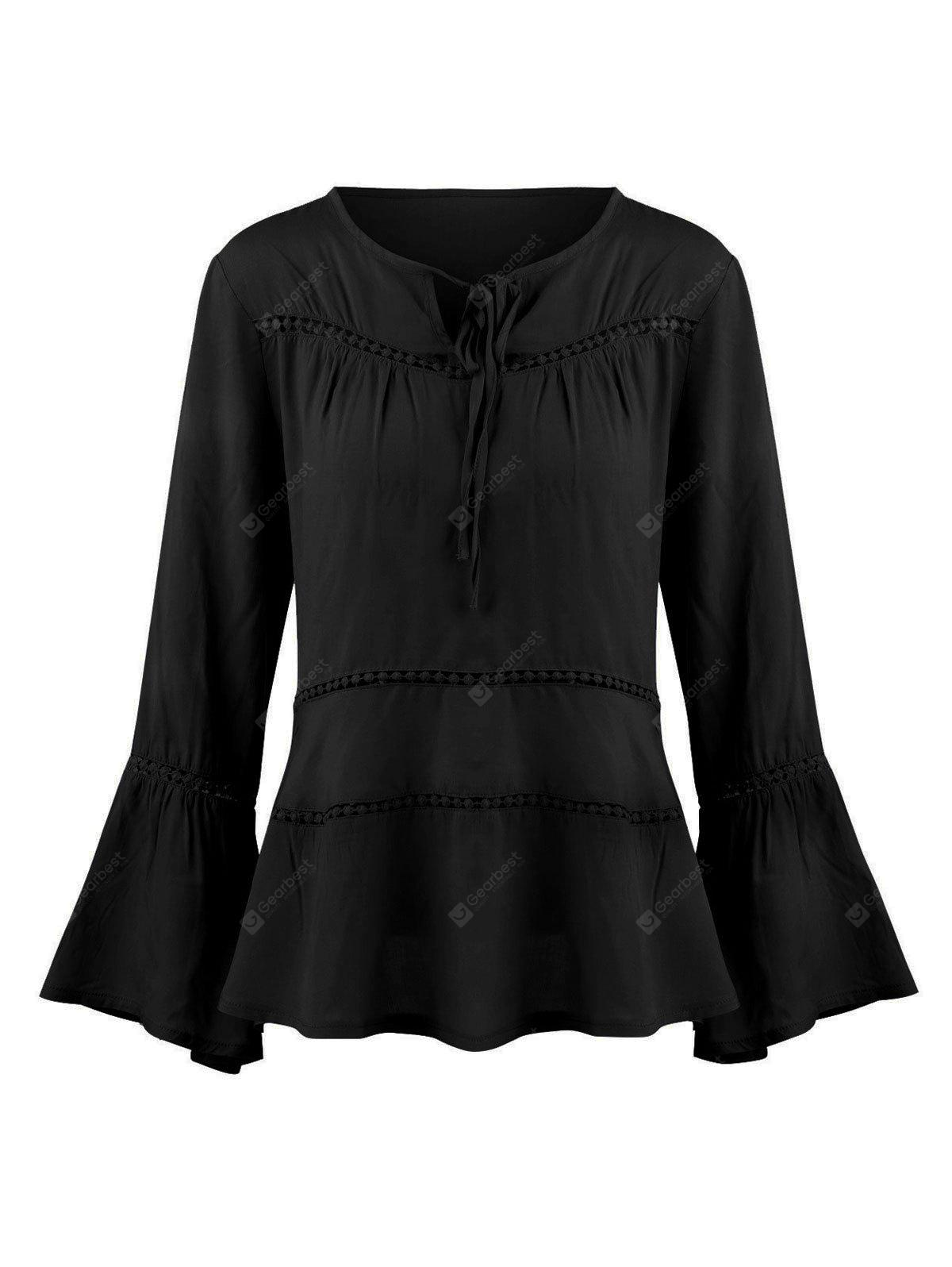 Flare Sleeve Hollow Out Blusa