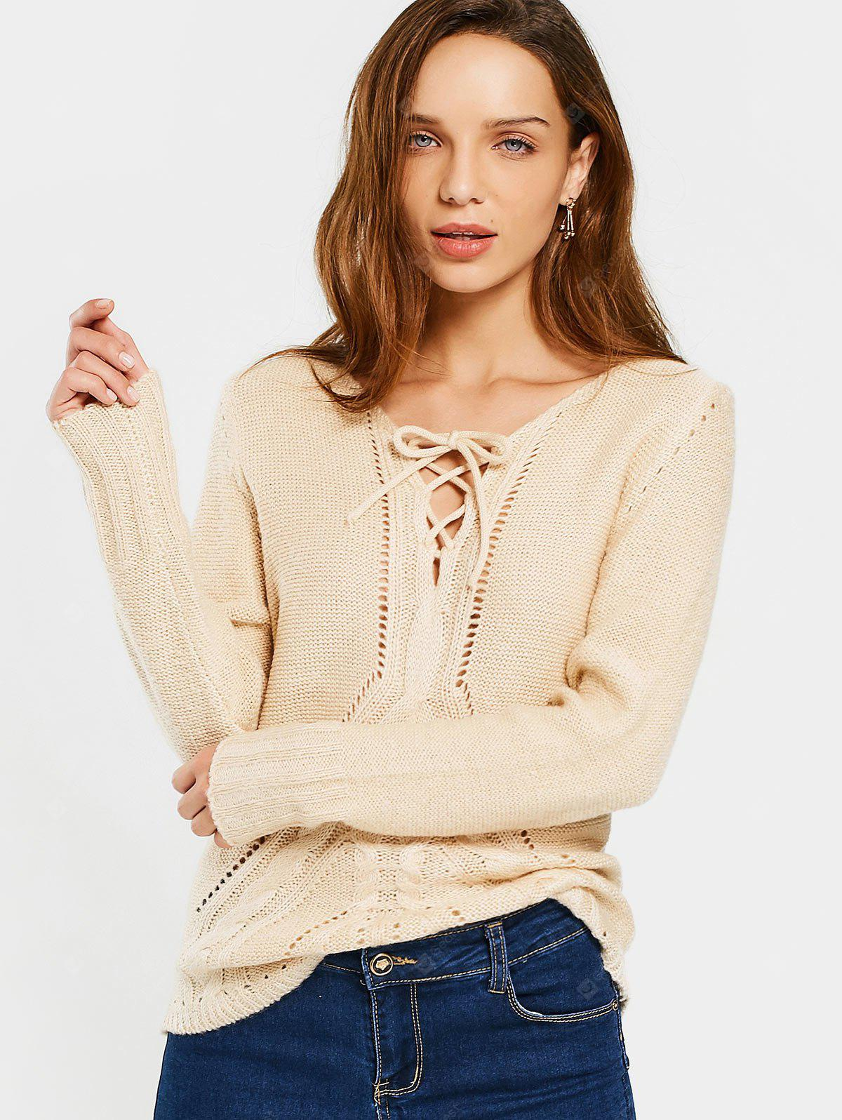 Lace Up Sheer V Neck Sweater