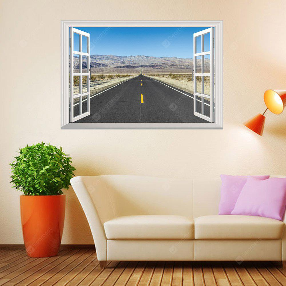 3D Window Highway Moutains Removable Wall Art Sticker