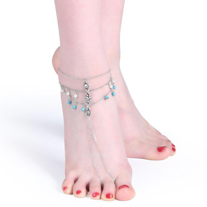 Faux Pearl Turquoise Rhinestone Slave Anklet