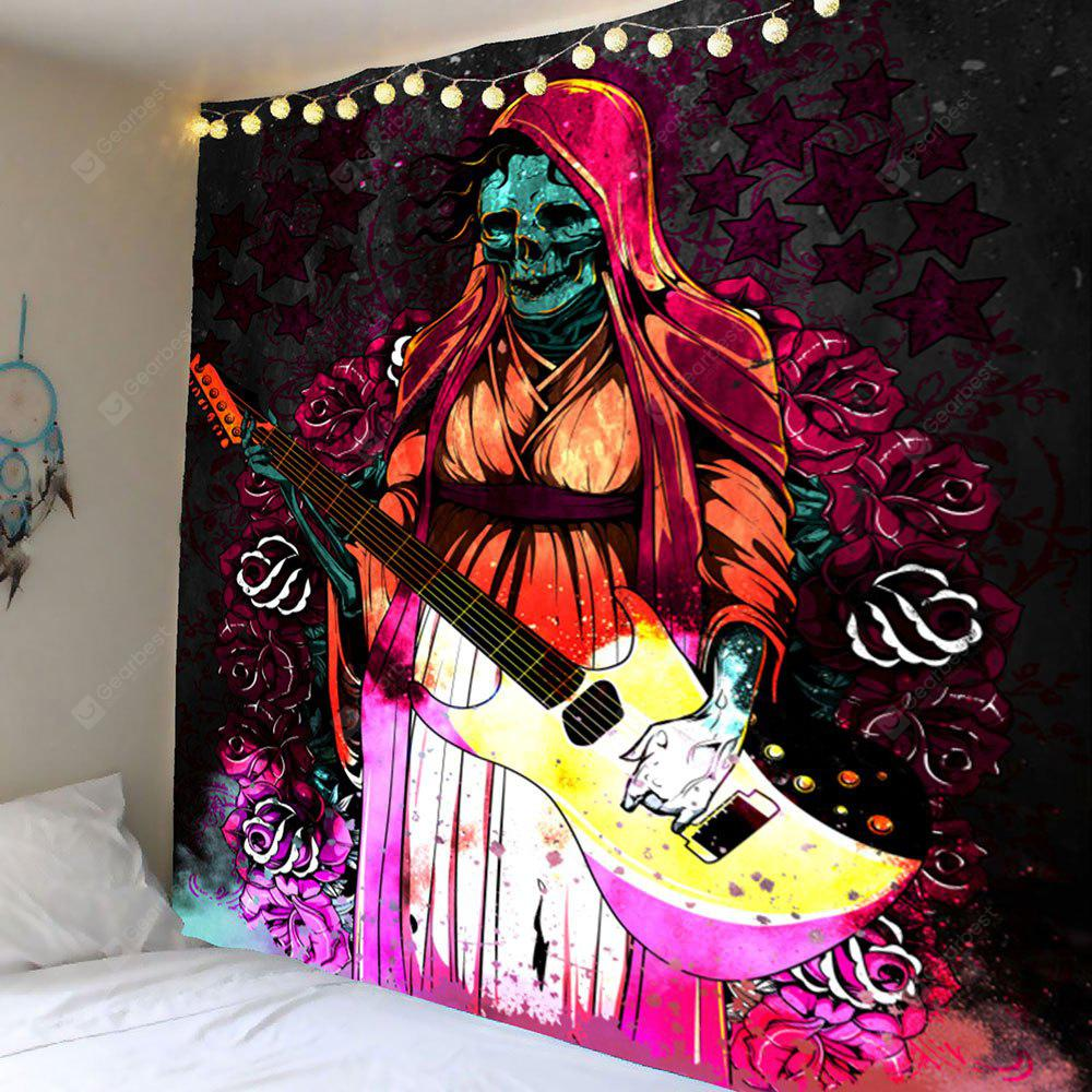 COLORFUL Halloween Playing Guitar Skull Flowers Wall Art Tapestry