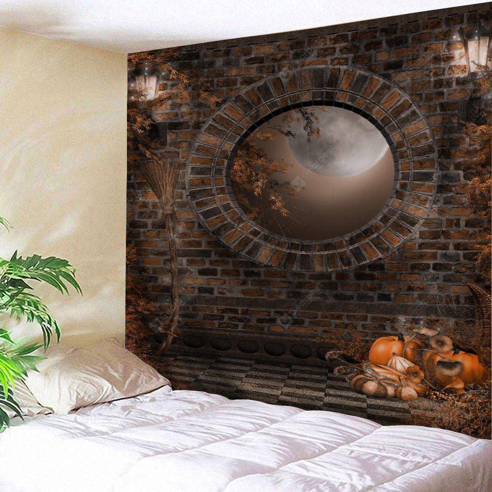 BROWN Wall Hanging Art Decor Halloween Brick Wall Print Tapestry