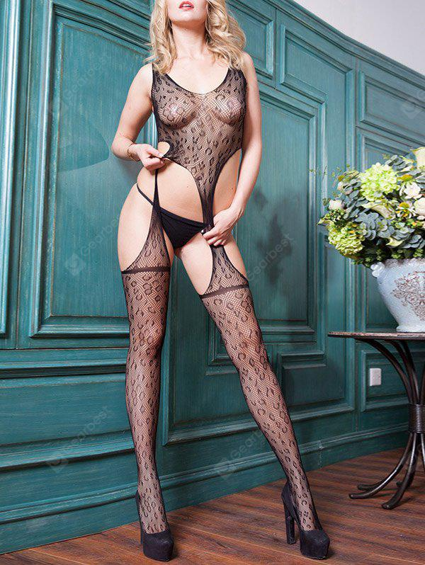 Leopard See Through Mesh Bodystocking