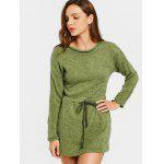 Belted Long Sleeve Sweater Mini Dress - ARMY GREEN