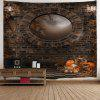 Wall Hanging Art Decor Halloween Brick Wall Print Tapestry - BROWN