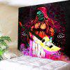 Halloween Playing Guitar Skull Flowers Wall Art Tapestry - COLORFUL