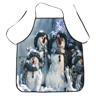 Snowman Family Print Waterproof Cooking Apron