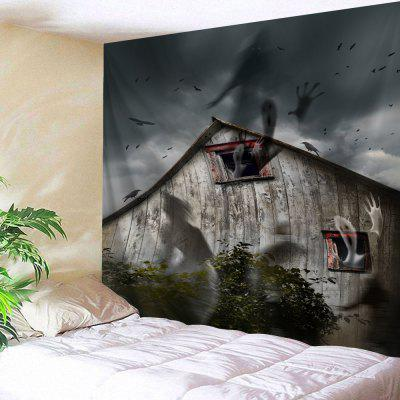 Buy BLACK GREY Halloween Spook House Print Wall Tapestry for $22.35 in GearBest store