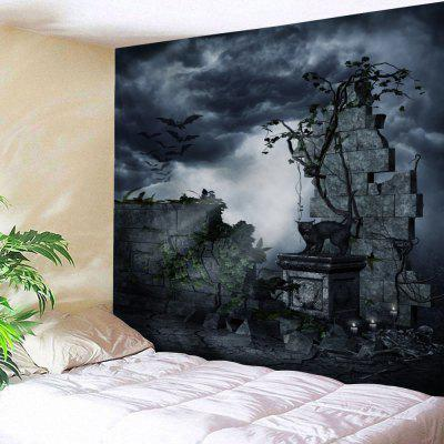 Buy BLACK GREY Gruesome Night Print Halloween Wall Tapestry for $16.06 in GearBest store