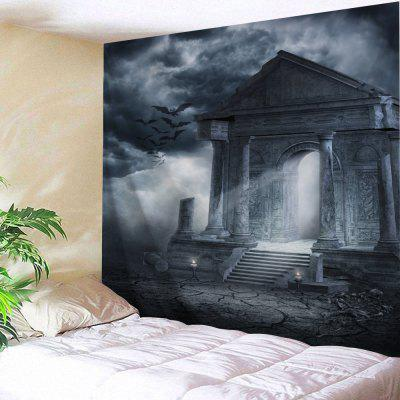 Buy BLACK GREY Horror Building Halloween Decor Wall Tapestry for $16.06 in GearBest store