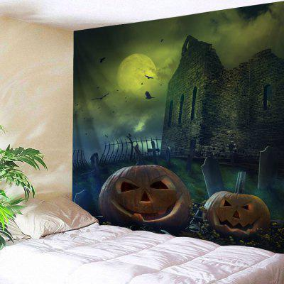 Buy COLORMIX Halloween Castle Pumpkin Print Wall Tapestry for $22.35 in GearBest store