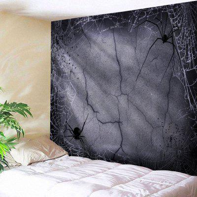 Buy GRAY Wall Hanging Art Decor Halloween Spider Web Print Tapestry for $19.22 in GearBest store