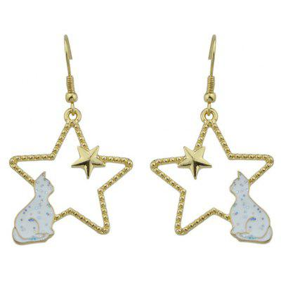 Cute Star Tiny Cat Hook Earrings